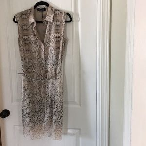 Magaschoni snake belted silk dress 8 NWOT